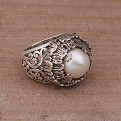 Floral White Cultured Pearl Cocktail Ring from Bali