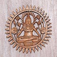 Wood wall relief panel, 'Shiva Aura' - Signed and Hand Carved Wall Relief Panel of Lord Shiva
