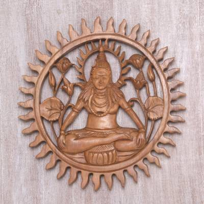 Wood relief panel, 'Shiva Aura' - Signed and Hand Carved Wall Relief Panel of Lord Shiva
