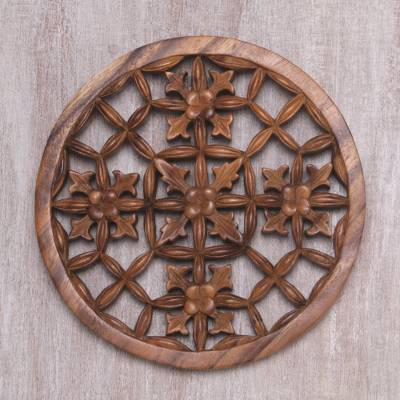 Wood relief panel, 'Flower Seeds' - Elegant Round Wood Wall Relief Panel from Bali