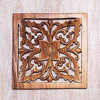 Wood wall relief panel, 'Blooming Temple' - Bali Artisan Crafted Floral Wood Wall Relief Panel