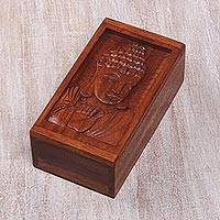 Decorative wood box, 'Blessing from Buddha' - Buddha-Themed Small Carved Wood Box