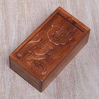 Wood decorative box, 'Blessings of a Happy Buddha' - Hand Carved Buddha Themed Wood Box from Bali