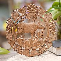 Wood relief panel, 'Rhino Forest' - Rhino and Grape Motif Round Wood Relief Panel
