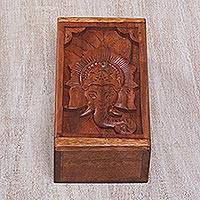 Decorative wood box, 'Ganesha Pride' - Carved Wood Trinket Box with Ganesha Motif on Lid