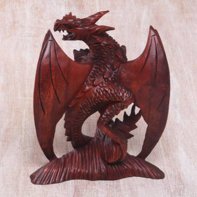 Wood sculpture, 'Gallant Dragon' - Hand-Carved Suar Wood Dragon Sculpture from Bali