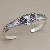 Amethyst cuff bracelet, 'Always Watching' - Women's Owl Cuff Bracelet with Amethysts in Sterling Silver