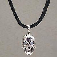 Rainbow moonstone and amethyst pendant necklace, 'Deadly Charm' - Rainbow Moonstone and Amethyst Skull Necklace from Indonesia