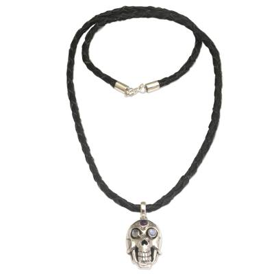 Rainbow Moonstone and Amethyst Skull Necklace from Indonesia