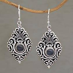Moonstone dangle earrings, 'Dream Portal' - Moonstone Dangle Earrings with Ornate Sterling Silver