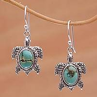 Sterling silver dangle earrings, 'Turtle Pond' - Reconstituted Turquoise Turtle Earrings in Sterling Silver