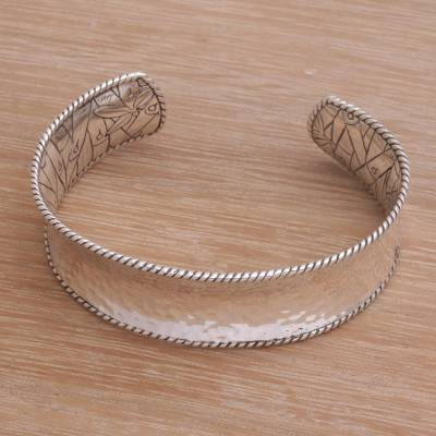 Sterling silver cuff bracelet, 'Reforestation' - Sterling Silver Nature Themed Cuff Bracelet from Bali