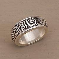 Sterling silver meditation spinner ring, 'Samsi Spin' - Unisex Sterling Silver Spinner Ring with Buddhist Motifs