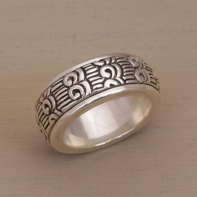 Unisex Sterling Silver Spinner Ring with Buddhist Motifs