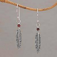 Garnet dangle earrings, 'Phoenix Feathers' - Garnet Feather-Shaped Dangle Earrings from Bali