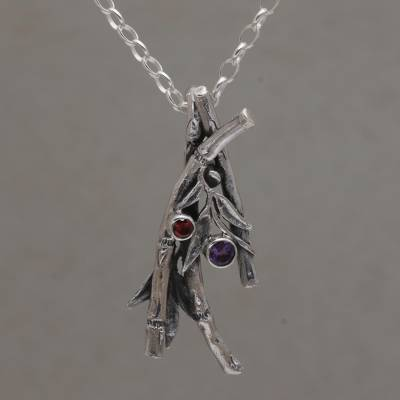 Amethyst and garnet pendant necklace, 'Bamboo Bunch' - Amethyst and Garnet Bamboo Pendant Necklace from Bali