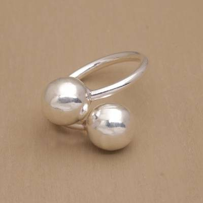 Sterling silver wrap ring, 'Abstract Orbs' - Handcrafted Spherical Sterling Silver Wrap Ring from Bali