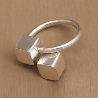 jewelry ring styles - Handcrafted Cube Sterling Silver Wrap Ring from Bali