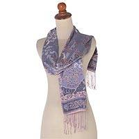 Silk batik scarf, 'Jasmine Mystery' - Lilac Floral Branch Silk Scarf with Fringe and Wood Gift Box