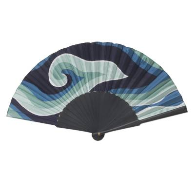 Batik Motif Fan in 100% Silk and Pinewood