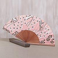 Silk batik fan, 'Bangli Springtime' - Pink Floral Hand Fan Crafted from Silk and Pinewood