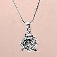 Sterling silver pendant necklace, 'Smiling Lutung' - Sterling Silver Lutung Monkey Pendant Necklace from Bali