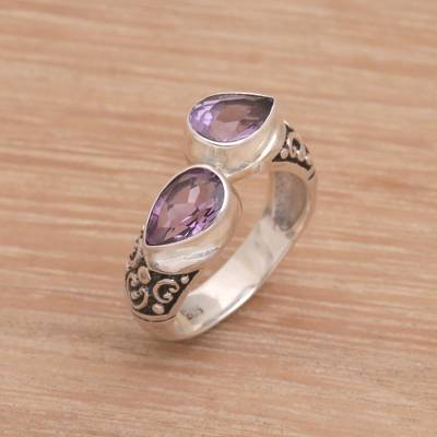 Teardrop Amethyst and Silver Cocktail Ring from Bali