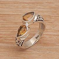 Citrine cocktail ring, 'Temple Tears' - Teardrop Citrine and Silver Cocktail Ring from Bali