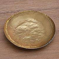 Brass catchall, 'Goldenrod Aura' - 5.5-Inch Artisan Handcrafted Brass Centerpiece Catchall