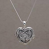 Sterling silver locket necklace, 'Koi Couple' - Koi Fish Heart Shaped Sterling Silver Locket Necklace
