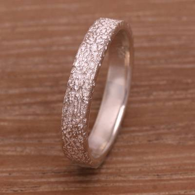 Sterling Silver Mid-Finger Band Ring from Bali
