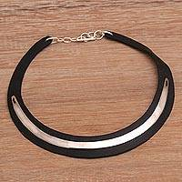 Featured review for Leather and sterling silver plated brass choker, Lavish Night