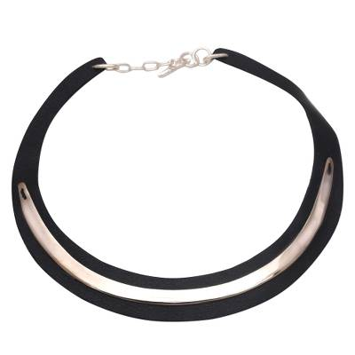 Handmade Leather and Silver Plated Brass Choker from Bali