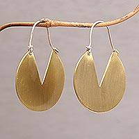 Brass hoop earrings, 'Resourceful' - Flat Brass Hoop Earrings with 925 Sterling Silver Hooks