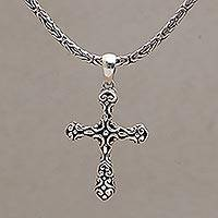 Sterling silver cross pendant necklace, 'One Faith' - Cross Pendant Necklace in 925 Sterling Silver