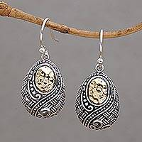 Gold accented sterling silver dangle earrings, 'Infinite Sunshine' - Ornately Detailed 18k Gold and Sterling Silver Earrings
