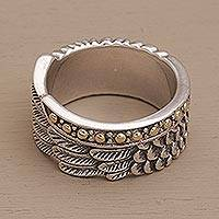Gold accented sterling silver band ring, 'Feathers and Scales' - Gold Accented Silver Band Ring with Feathers and Scales