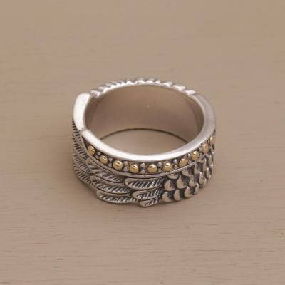 Gold accented sterling silver band ring, Feathers and Scales