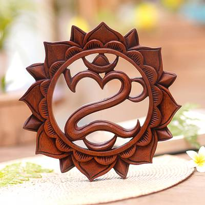 Wood relief panel, 'Lotus Omkara' - Hand-Carved Floral Om Suar Wood Relief Panel from Bali