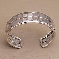 Sterling Silver Cuff Bracelet Gleaming Weave (indonesia)
