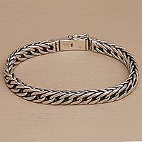 Men's sterling silver chain bracelet, 'Perfect Gleam' - Men's Sterling Silver Chain Bracelet Crafted in Bali