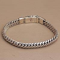 Men's sterling silver chain bracelet, 'Chain of Power' - Men's Chain Bracelet Crafted of Sterling Silver from Bali