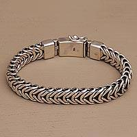 Men's sterling silver chain bracelet, 'Mystery Links' - Men's Bracelet Crafted of Sterling Silver from Bali
