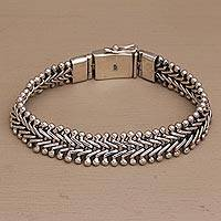 Men's sterling silver chain bracelet, 'Lithe as a Snake' - Handcrafted Men's Sterling Silver Chain Bracelet from Bali
