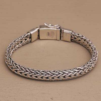 Sterling silver wristband bracelet, 'Intrepid Bloom' - Sterling Silver Chain Wristband Bracelet from Bali