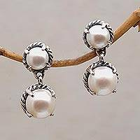 Cultured pearl dangle earrings, 'Cool Reflection' - Sterling Silver Dangle Earrings with White Cultured Pearls