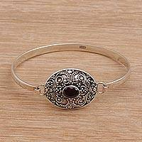 Garnet pendant bangle bracelet,