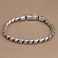 Men's sterling silver chain bracelet, 'Masculine Gleam' - Men's High-Polish Sterling Silver Chain Bracelet form Bali
