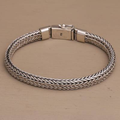 Men's sterling silver chain bracelet, 'Bali Shine' - Men's Sterling Silver Foxtail Chain Bracelet from Bali