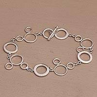 Sterling silver link bracelet, 'Pop' - Contemporary Sterling Silver Link Bracelet from Bali
